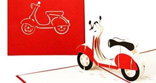 """3D GrusskarteVespa Pop Up Karte Motorroller ausgefallene Geburtstagskarte Klappkarte 310x165 - 3D Grußkarte""""Vespa"""" - Pop Up Karte Motorroller, ausgefallene Geburtstagskarte, Klappkarte Gutschein Vespa, 3D Glückwunschkarten mit Umschlag"""