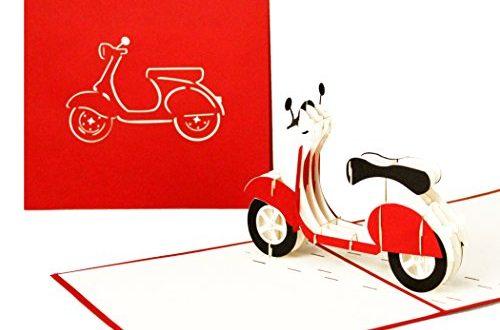 """3D GrusskarteVespa Pop Up Karte Motorroller ausgefallene Geburtstagskarte Klappkarte 500x330 - 3D Grußkarte""""Vespa"""" - Pop Up Karte Motorroller, ausgefallene Geburtstagskarte, Klappkarte Gutschein Vespa, 3D Glückwunschkarten mit Umschlag"""