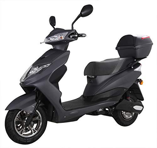 "Elektroroller ""EAGLE"", 2000 Watt, 60 km Reichweite, 45 km/h, E-Scooter, Elektro-Roller, E-Roller mit Straßenzulassung, E-Mofa, Blei-Gel-Akku, Produktvideo, Schwarz"
