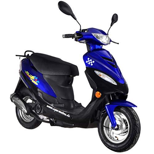 Roller GMX 450 SPORT Mokick 45 km/h blau 2,1 KW / 2,9 PS/Luftgekühlt/Alufelgen/Gepäckträger/Scheibenbremse/Teleskopgabel Hydraulisch/ab 16 Jahren